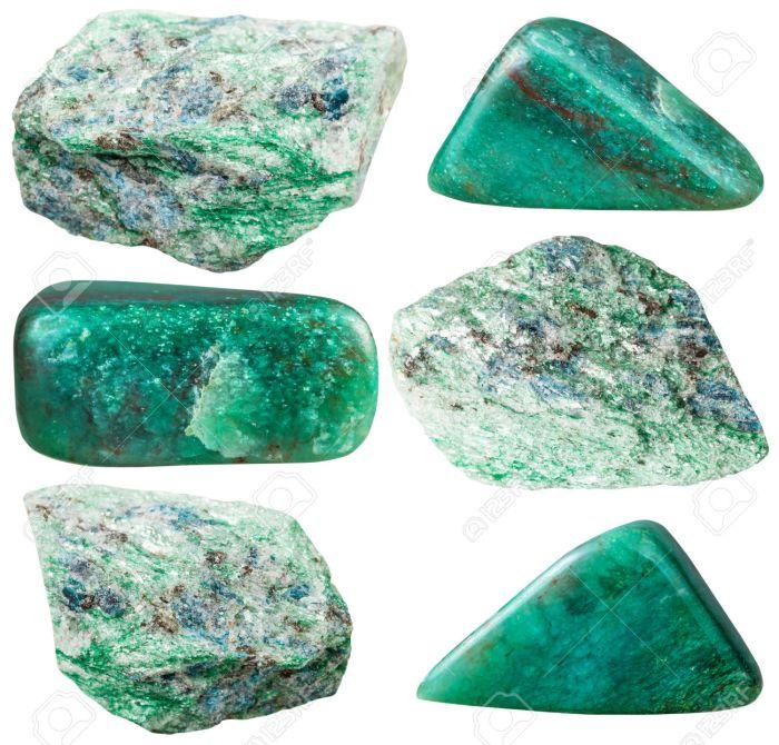 set of polished and rock fuchsite gemstones